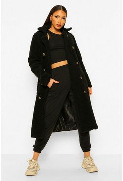 Black Tall Belted Longline Teddy Coat