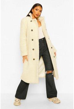Ivory white Tall Belted Longline Teddy Coat