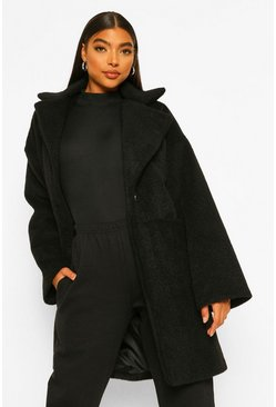 Black Tall Luxe Textured Wool Look Coat