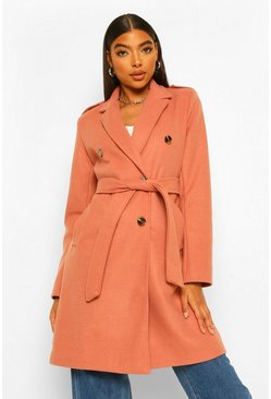 Terracotta orange Tall Belted Wool Look Coat