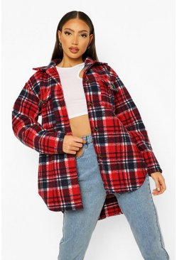 Red Tall Oversized Check Shacket
