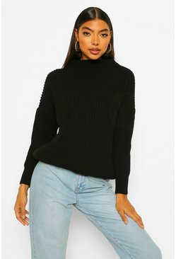 Black Tall Volume Sleeve High Neck Jumper