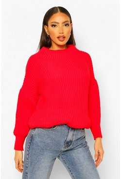 Red Tall Volume Sleeve High Neck Jumper
