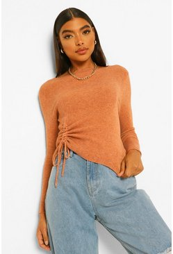 Rust orange Tall Side Ruched Soft Knit Jumper