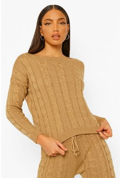 Sand beige Tall Cable Knit Crop Jumper