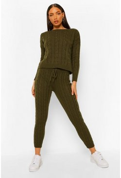 Khaki Tall Cable Knit Joggers