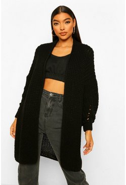 Black Tall Heavy Weight Chunky Knit Cardigan