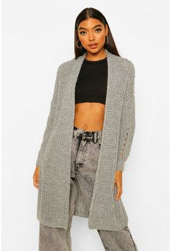 Grey Tall Heavy Weight Chunky Knit Cardigan