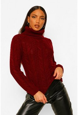 Berry Tall Cable Knit Roll Neck Crop Jumper