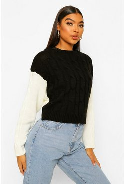 Black Tall Colour Block Cable Knit Jumper
