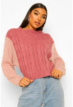 Rose Tall Colour Block Cable Knit Jumper