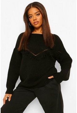Black Tall Tassel Front Jumper