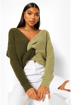 Sage green Tall Colour Block Twist Jumper