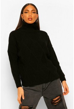 Black Tall Diamond Knit Roll Neck Jumper