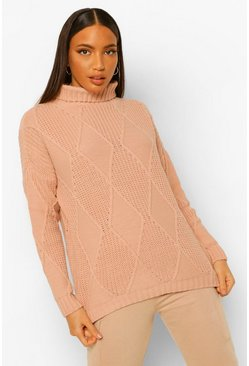 Blush pink Tall Diamond Knit Roll Neck Jumper