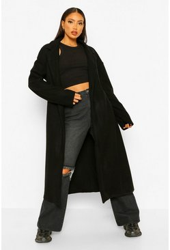 Black Tall Longline Wool Look Coat