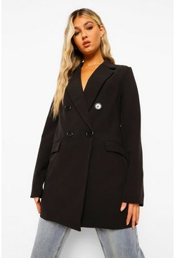 Black Tall Double Breasted Contrast Button Blazer