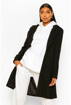 Black Tall Wool Look Coat