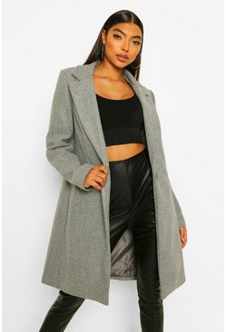 Grey Tall Wool Look Coat