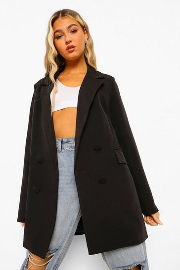 Black Tall Longline Double Breasted Blazer