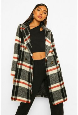Black Tall Check Wool Look Coat