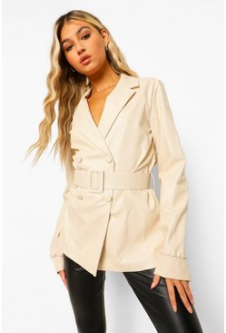 Cream white Tall Double Breasted PU Blazer