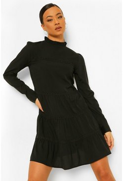 Black Tall Woven Tiered Long Sleeve Mini Dress