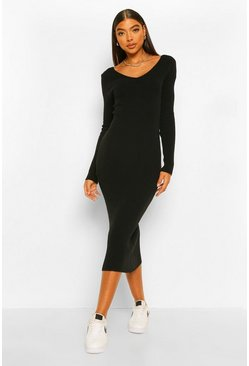 Black Tall Premium Rib V-Neck Knitted Dress