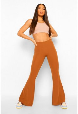 Tan brown Tall Fitted Flared Trousers