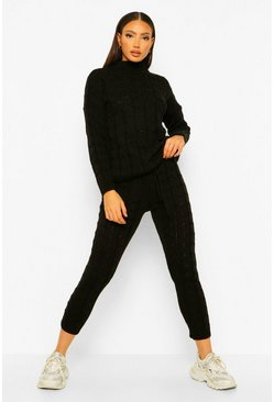 Black Tall Cable Knit Jumper and Jogger Co-Ord