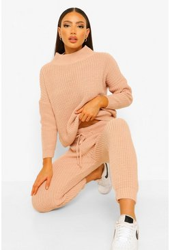 Blush pink Tall Chunky Knit Jumper and Jogger Co-Ord