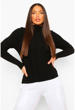 Black Tall Cable Knit Volume Sleeve Jumper