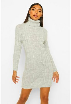 Grey marl Tall Cable Knit Roll Neck Dress