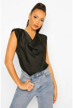 Top de satén con cuello desbocado Tall, Negro