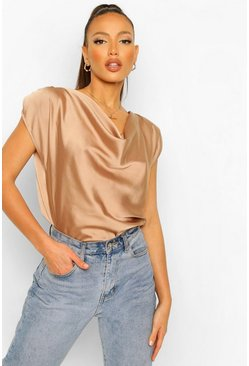 Stone beige Tall Satin Cowl Neck Top