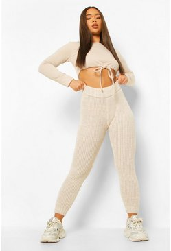 Tall Chunky Knit Joggers, Ivory blanc