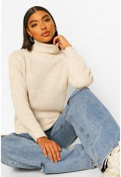 Ivory Tall Roll Neck Chunky Knit Jumper