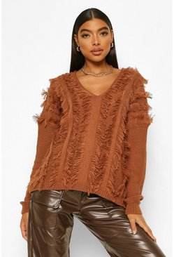 Camel beige Tall Fringe Detail V-Neck Jumper