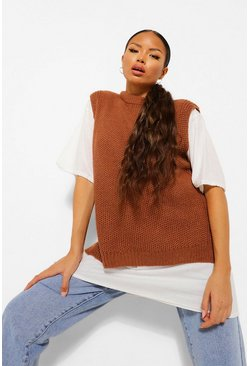 Camel Tall Oversized Knitted Vest Jumper