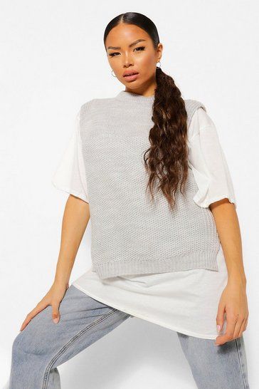 Grey Tall Oversized Knitted Vest Jumper