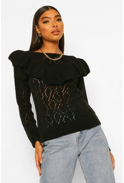 Black Tall Pointelle Ruffle Front Jumper