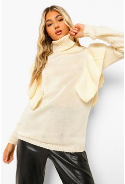 Tall Roll Neck Ruffle Detail Jumper, Ivory weiß