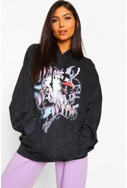 Black Maternity Acid Wash Eagle WMN Hoody