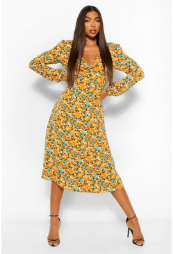 Mustard yellow Tall Floral Print Button Through Mini Dress