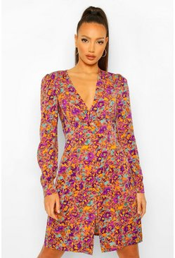 Apricot Tall Floral Print Button Through Mini Dress