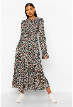 Black Tall Woven Floral Midaxi Smock Dress