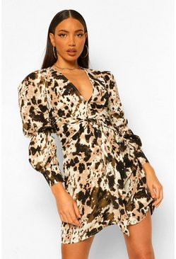 Brown Tall Woven Marble Print Puff Sleeve Mini Dress