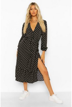 Black Tall Woven Polka Dot Midi Dress