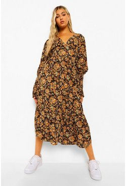 Black Tall Woven Paisley Floral Print Maxi Dress