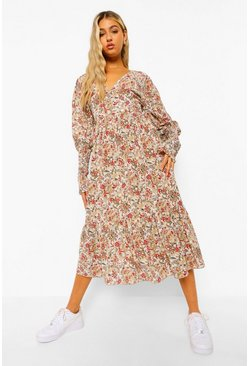 White Tall Geweven Bloemenprint Paisley Maxi Jurk
